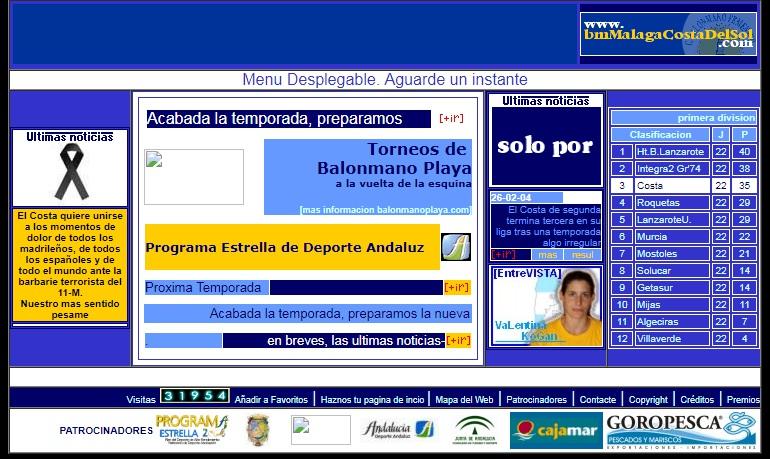 Web del Club Balonmano Femenino Málaga Costa del Sol. Año 2004