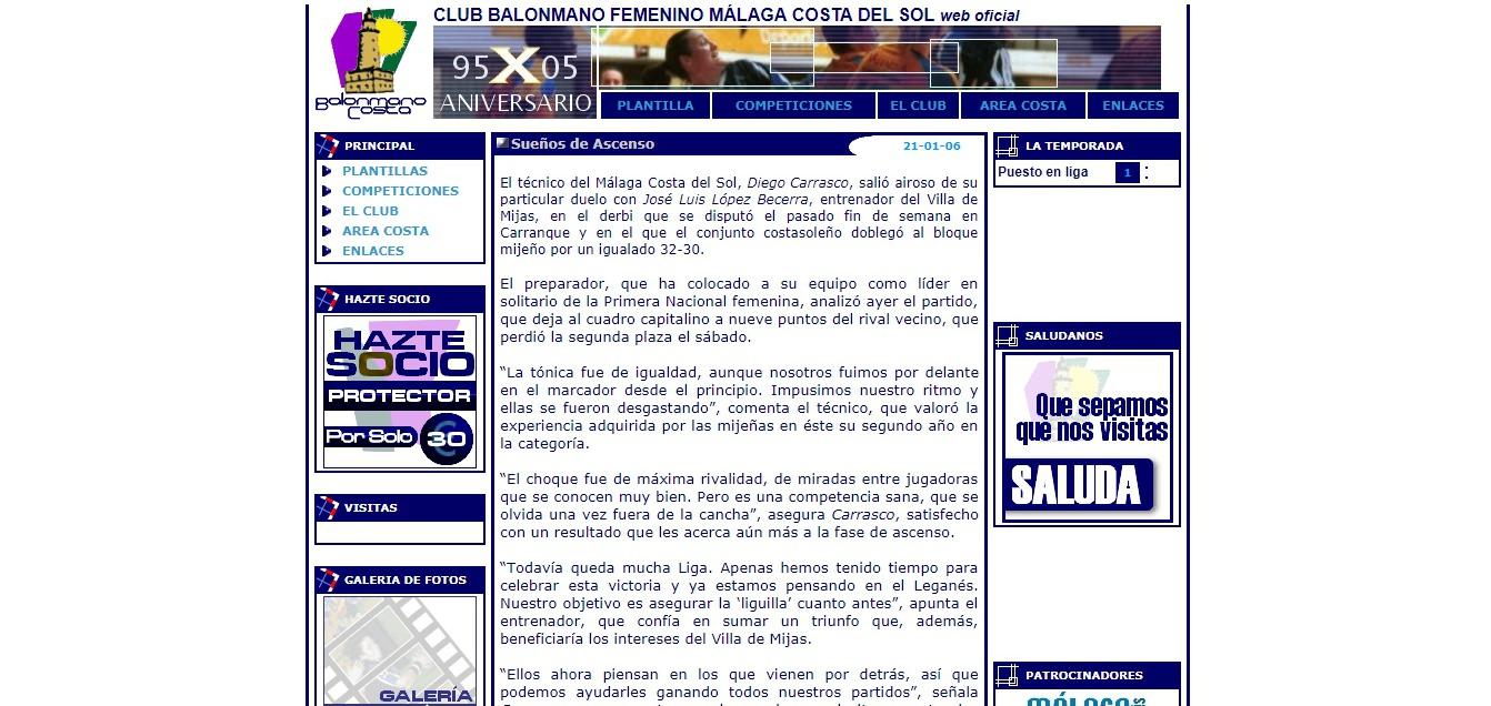 Web del Club Balonmano Femenino Málaga Costa del Sol. Año 2005