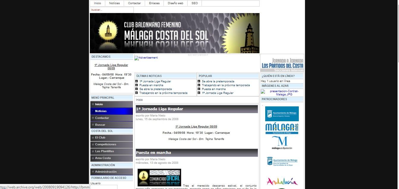 Web del Club Balonmano Femenino Málaga Costa del Sol. Año 2008