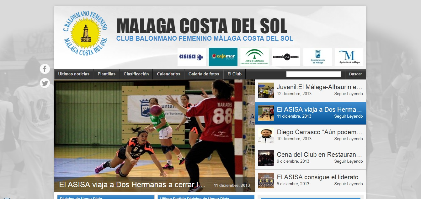 Web del Club Balonmano Femenino Málaga Costa del Sol. Año 2013