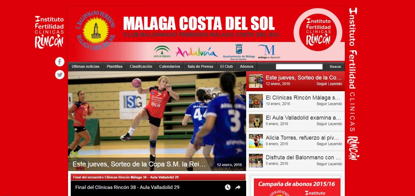 Web del Club Balonmano Femenino Málaga Costa del Sol. Año 2016