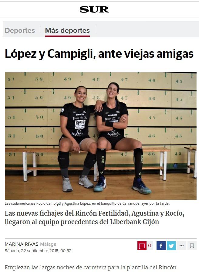 Lopez y Campigli ante viejas amigas. Diario SUR