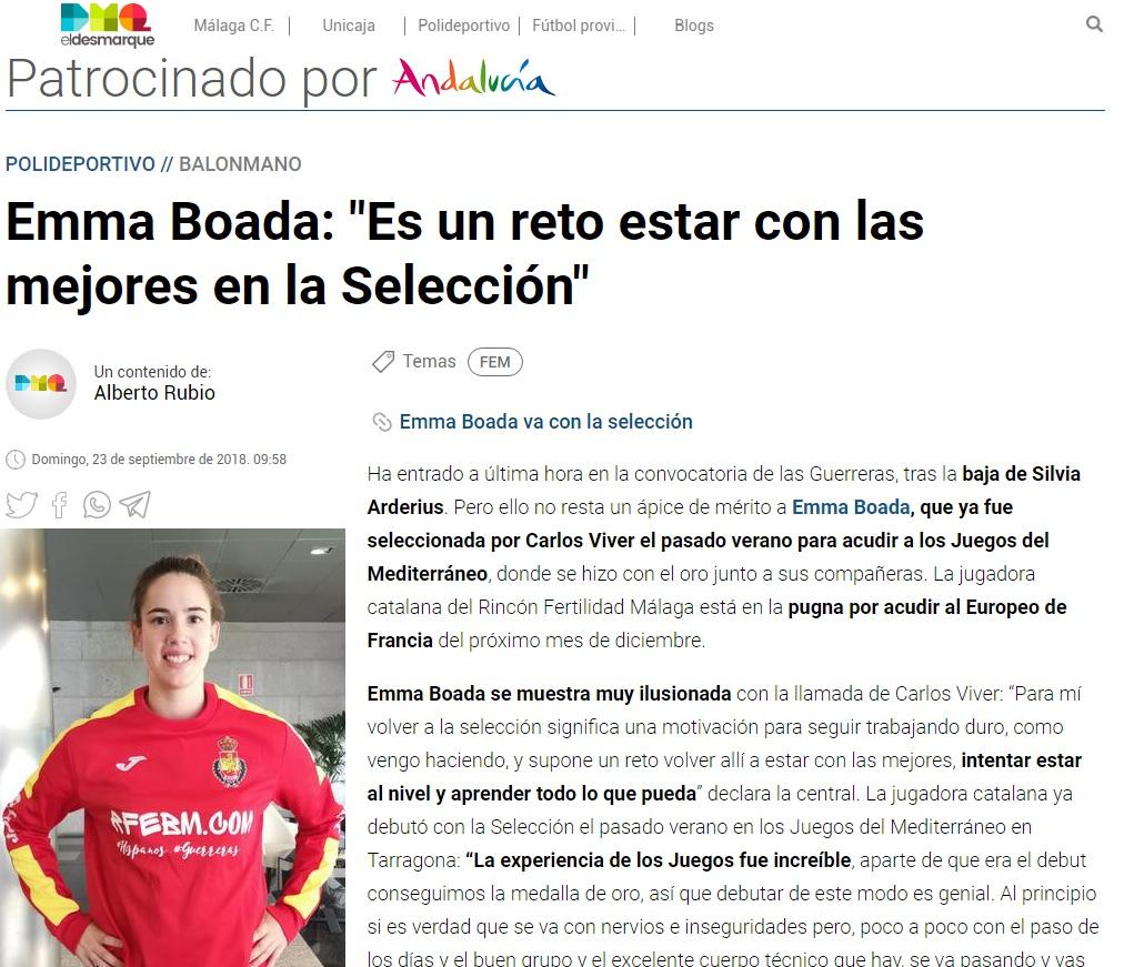 Entrevista a Emma Boada en El Desmarque Málaga