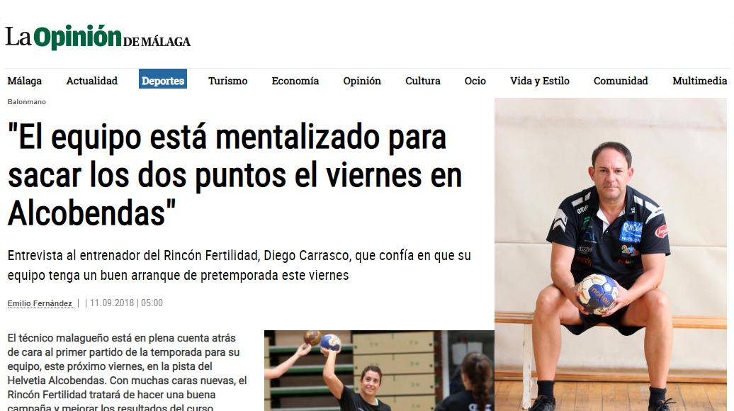 Entrevista a Diego Carrasco en La Opinion de Málaga