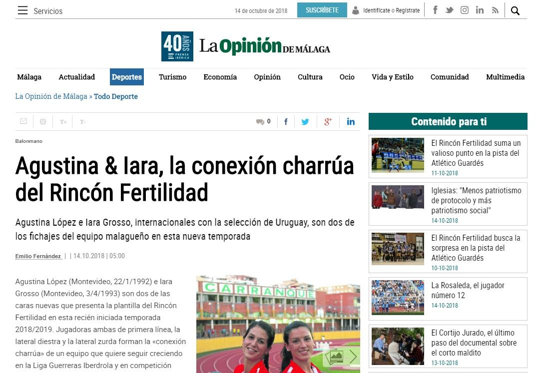 Agustina y Lara, La Opinión de Málaga. Octubre del 2018