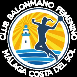 Escudo Club Balonmano Femenino Málaga Costa del Sol SOBRE FONDO NEGRO U OSCURO TRANSPARENTE