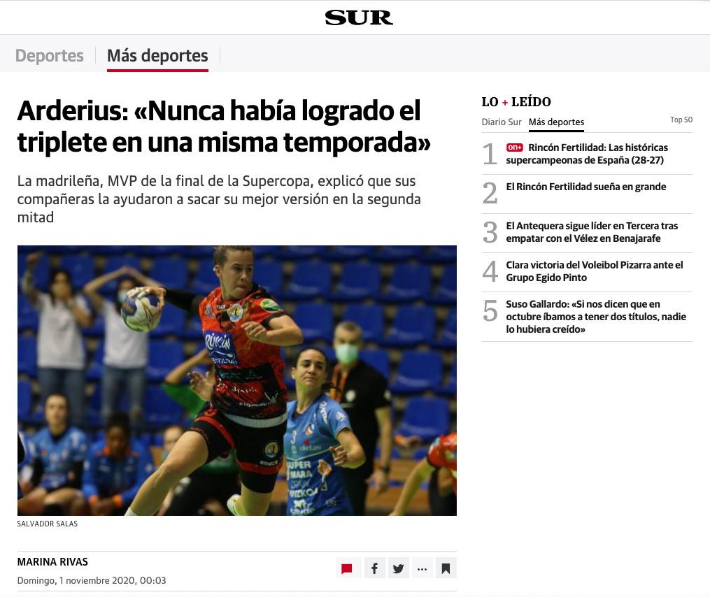 Sivlia Arderius en Diario Sur