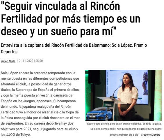Entrevista a la capitana del Rincón Fertilidad de Balonmano, Sole López, Premio Deportes