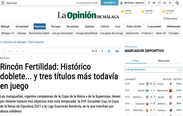 En La Opinión de Málaga: Histórico doblete y tres títulos más todavía en juego