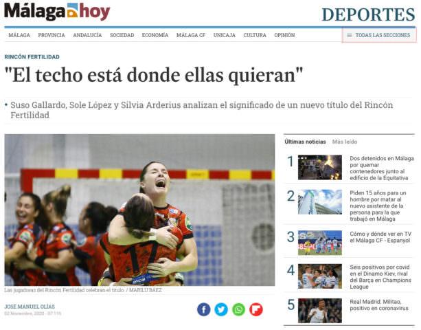 """En Málaga Hoy: """"El techo está donde ellas quieran"""""""