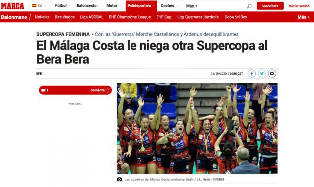 En MARCA: El Malaga Costa le niega otra Supercopa al Bera Bera