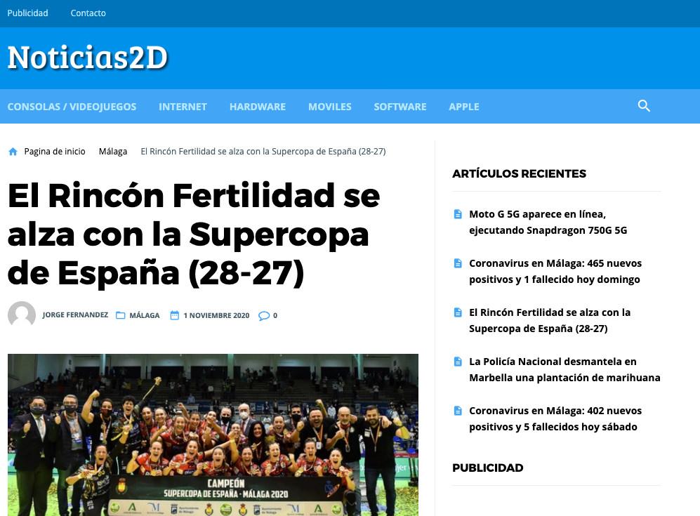 Noticias 2D El Rincón Fertilidad Málaga se alza con la supercopa de España 2020