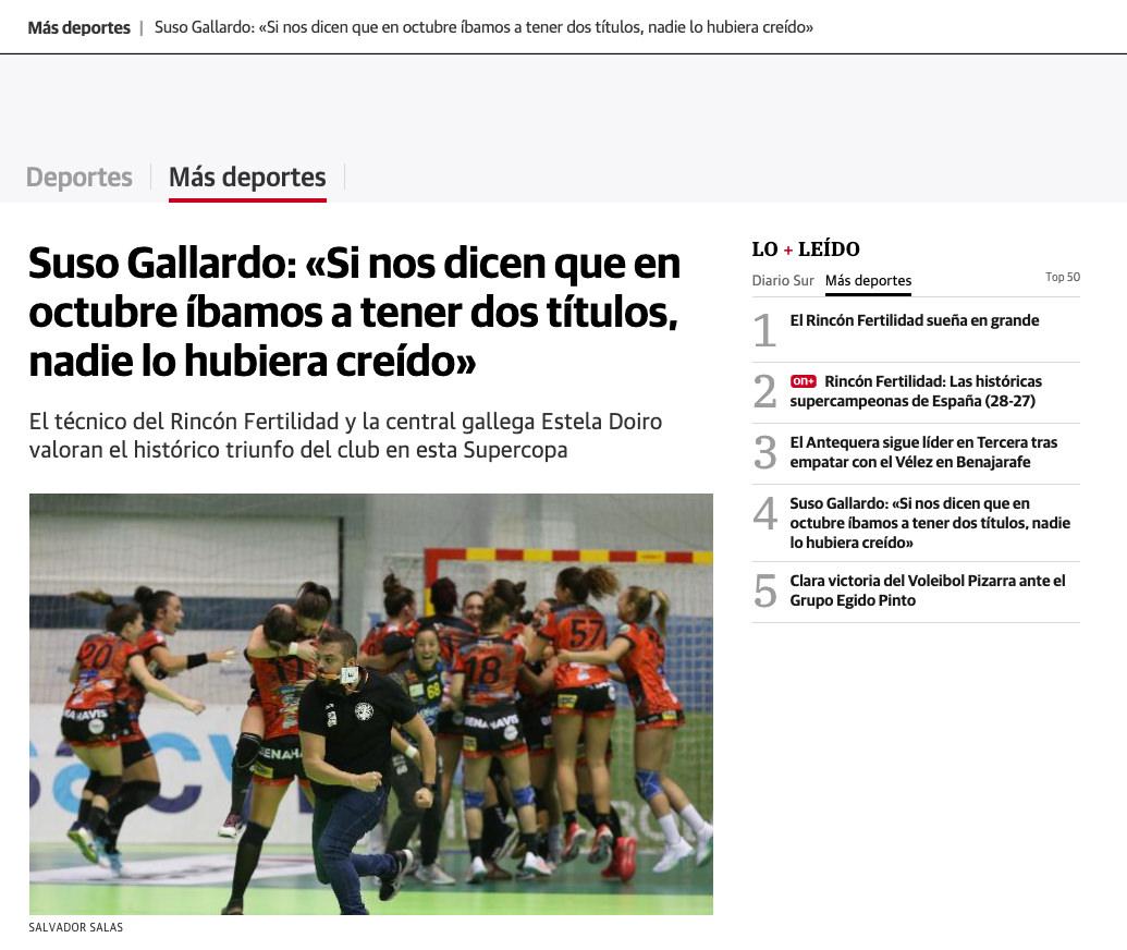 Suso García en Diario Sur. Supercopa de España 2020